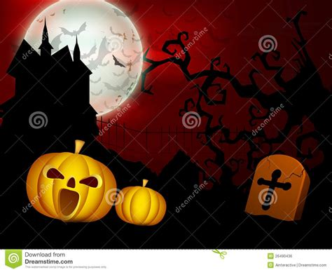 Scary Halloween Full Moon Night Background. Royalty Free