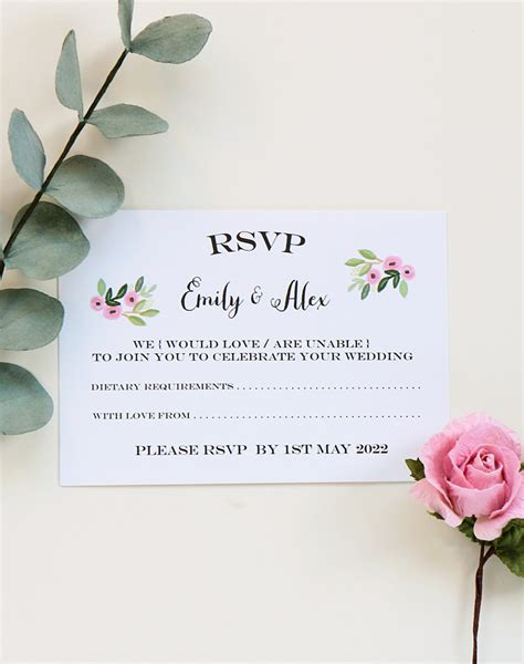 RSVP Card Botanical Rose Design from Paper Tree