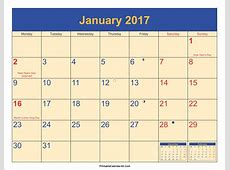 January 2017 Calendar with Holidays Archives Free