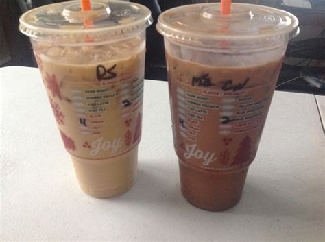 Large Iced Coffee (pumpkin Spice On The Left And Mocha
