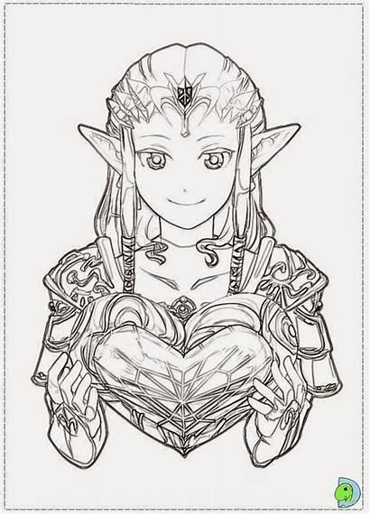 Zelda Coloring Legend Princess Twilight Link Coloriage