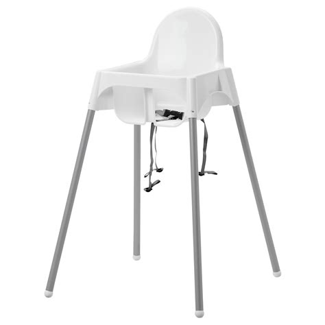 chaise haute safety antilop highchair with safety belt white silver colour ikea