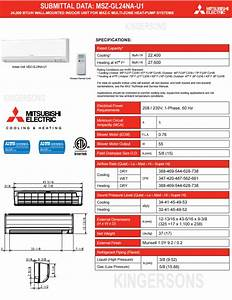 Manual And Guide For Mitsubishi Mszgl24na Ductless Split