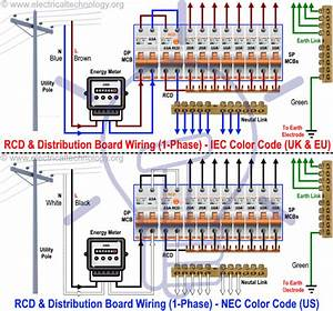 Wiring Of The Distribution Board With Rcd  Single Phase Home Supply