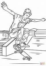 Coloring Skateboarding Trick Pages Skateboard Printable Sheets Drawing Coloriage Boy Work sketch template