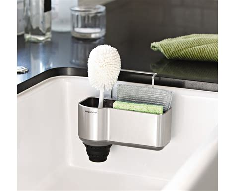 sponge caddy for sink simplehuman brushed steel sink caddy
