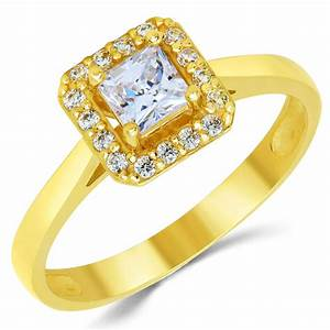 14k solid yellow gold cz cubic zirconia solitaire halo With gold cz wedding rings