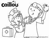 Caillou Coloring Sheet Fun Checkup Games Activities sketch template