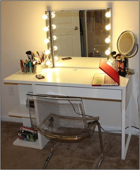 broadway lighted vanity makeup desk white desk home