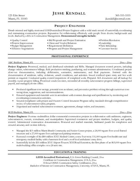 Engineer Sle Resume Objective by Sle Resume Of Civil Project Manager