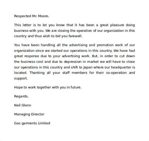 sample closing business letters