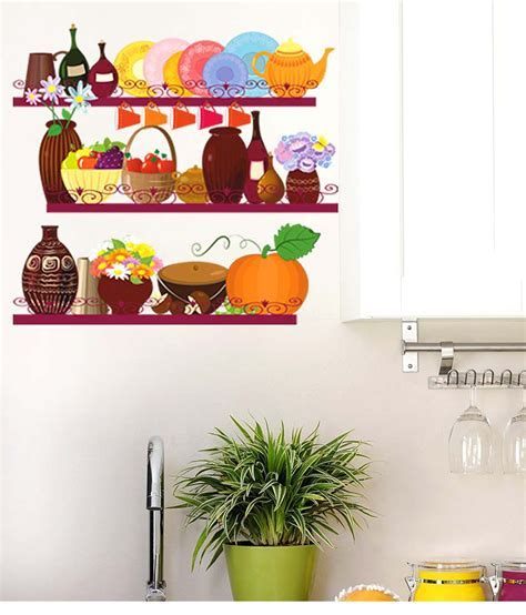 Stickerskart Multicolor Kitchen Utensils And Jars Storage