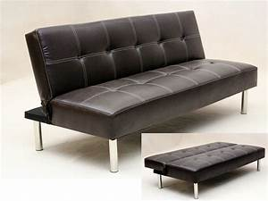 faux leather 3 seater sofa bed brown black homegenies With faux leather sectional sofa bed