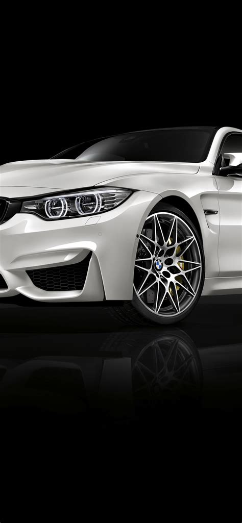 Bmw Black Wallpaper Iphone Car by Bmw M4 White Car Front View Black Background 1242x2688