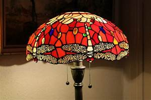 Tiffany style floor lamp stained glass unique red for Floor lamp dublin