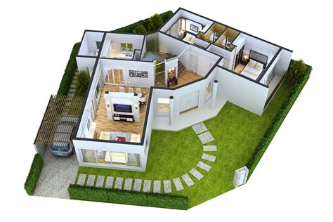 3d House Design : Impressive Floor Plans In 3d