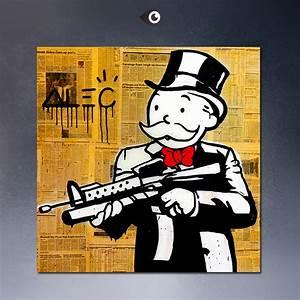 NEWSPAPER-GUN-Alec-monopoly-wall-street-arts-canvas-print