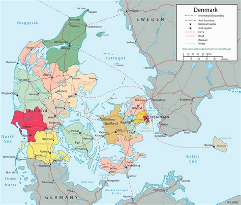 political map denmark travel europe