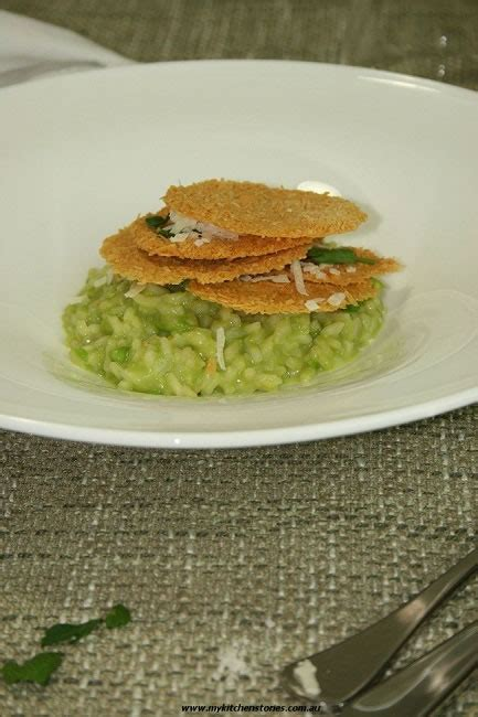 my green kitchen stories green pea risotto parmesan crisps my kitchen stories 3418