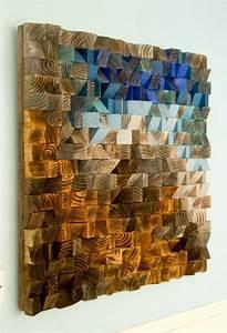 Holz Löcher Füllen : holz wand kunst modern 3d abstrakt d nne holzstreifen handgemalt gef rbt und lackiert jedes ~ Watch28wear.com Haus und Dekorationen