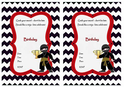 ninja warriors birthday invitations birthday printable