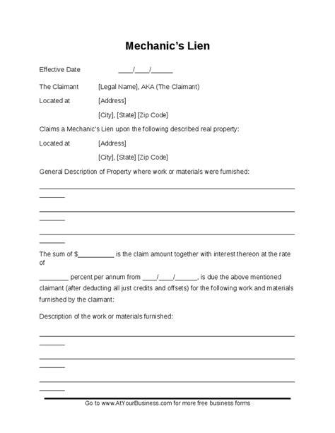 elegant lien agreement template ha  edujunction