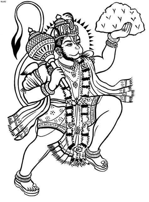 Kathakali Outline Hanuman coloring book hanuman | kerala mural | Pinterest