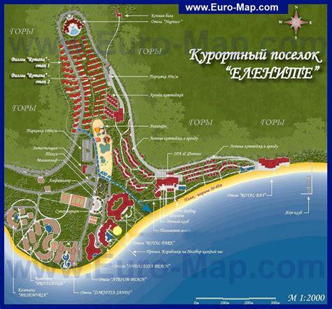Карты Елените   Подробная карта курорта Елените с отелями   Болгария