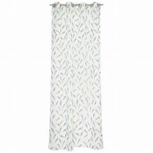 Rideau Blanc Et Bleu : rideau design blanc et noir oeillets imprim floral par esprit home ~ Teatrodelosmanantiales.com Idées de Décoration
