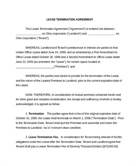 lease termination form   documents