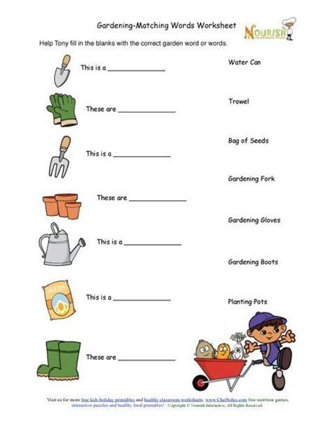 gardening worksheets for elementary students gardening tools matching activity sheet gardening