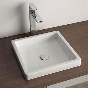 vasque a encastrer par dessus carree 40x40 cm ceramique pure With salle de bain design avec vasque carrée 40x40