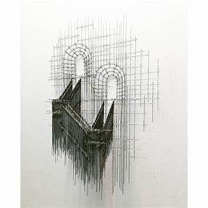 Artist creates architectural 3d sketch like wire sculptures for Drawing sculptures david moreno