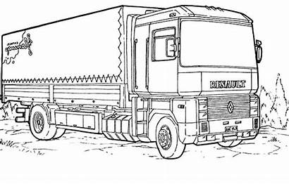 Coloring Truck Pages Trucks Semi Renault Colouring