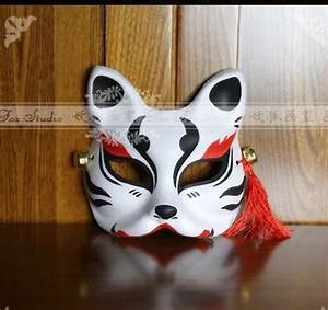 Hand-Painted Half Face Japanese Fox Mask Kitsune Cosplay ...