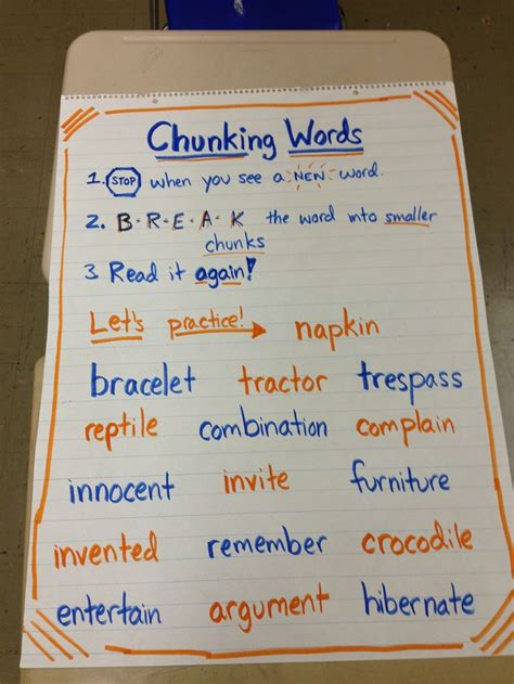 chunking anchor chart guided reading kindergarten
