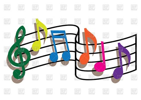 Coloured Music Notes On The White Background Vector Image