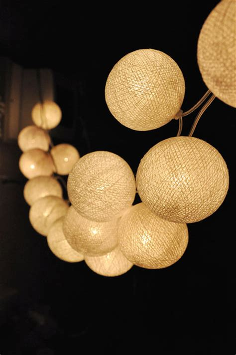 handmade white cotton string lights by ginew