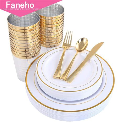 plates plastic disposable cups gold dinner dinnerware silverware premium fancy forks piece tumblers includes paper spoons knives party dessert faw