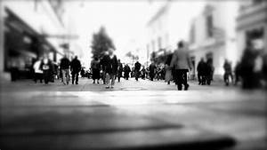 Silhouette Of People Walking On The Street Of Big City ...