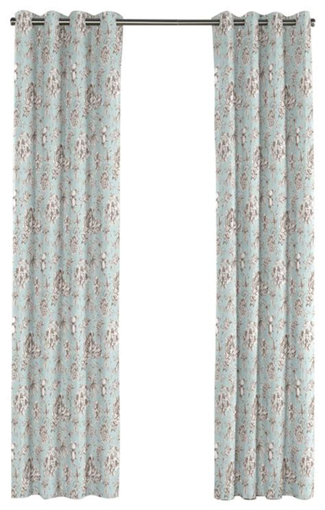light blue floral toile grommet curtain traditional