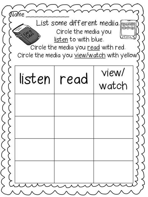 media literacy worksheets for grade 1 media literacy unit plan grade 3 media literacy