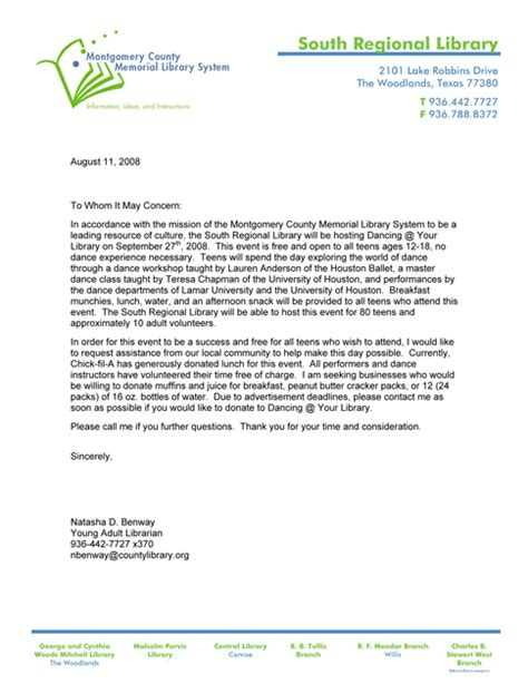 sample letter memorial donation sample business letter