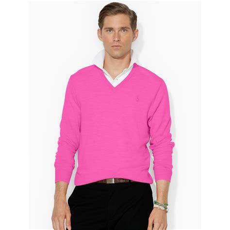 fuchsia sweater ralph merino wool half zip sweater in pink for