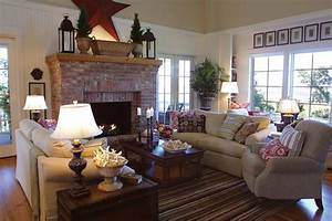 Living Room : Living Room With Brick Fireplace Decorating ...