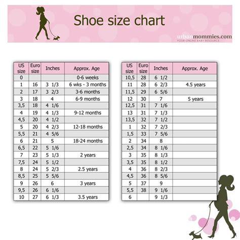 kids shoe size chart urban mommies