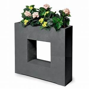 bac a fleurs design fibre de terre l68 h69 cm anthracite With bac plantes interieur design