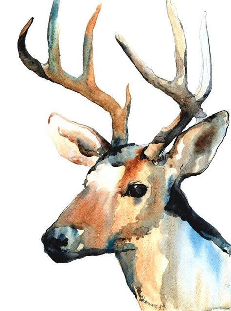 Reindeer Watercolor Digital Print Deer Home Decor