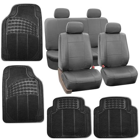 floor mats and seat covers gray faux leather car seat cover set headrests floor mat set 800222115601 ebay