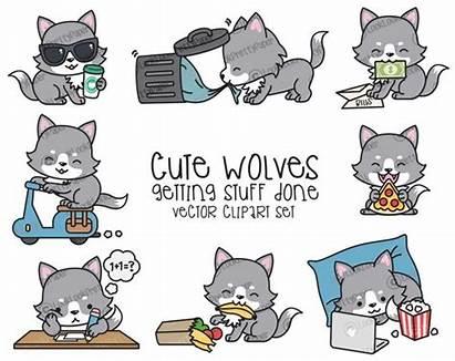 Wolf Clipart Vector Kawaii Wolves Premium Adorable